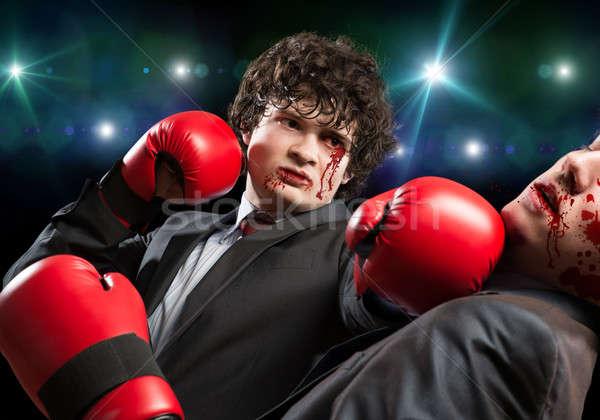 бизнеса Конкуренты два бизнесмен боксерские перчатки кольца Сток-фото © adam121