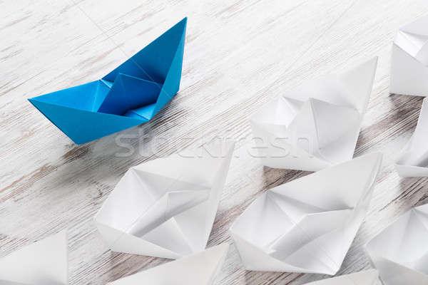 ビジネス リーダーシップ セット 折り紙 ボート 木製のテーブル ストックフォト © adam121