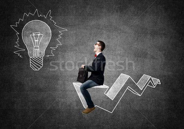 Man on arrow graph Stock photo © adam121