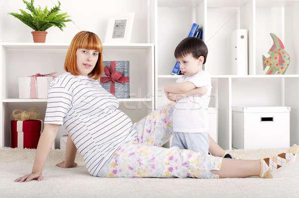 Madre bebé retrato mujer embarazada hijo Foto stock © adam121