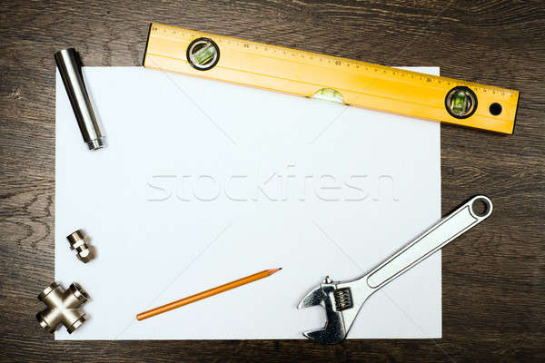 plumbing tools on a white sheet of paper Stock photo © adam121
