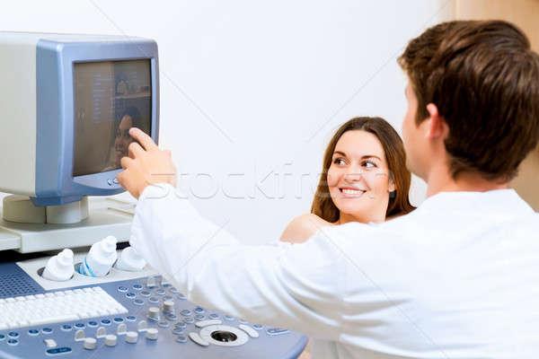 ストックフォト: 妊婦 · 受付 · 医師 · 小さな · 超音波 · 健康