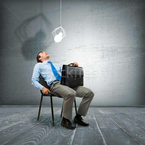 Korkmuş işadamı genç oturma sandalye örümcek Stok fotoğraf © adam121