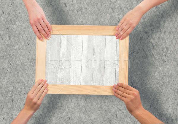 Mãos quadro humanismo moldura de madeira Foto stock © adam121