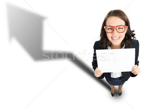 Alegre mujer de negocios superior vista blanco negocios Foto stock © adam121