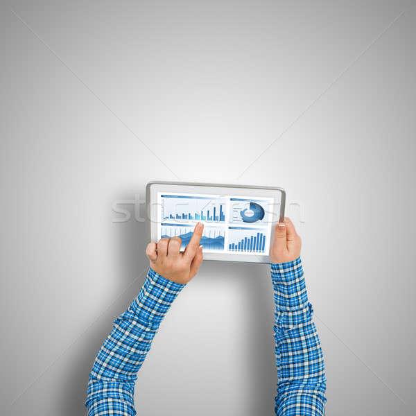 Financiële toepassing top meisje handen Stockfoto © adam121