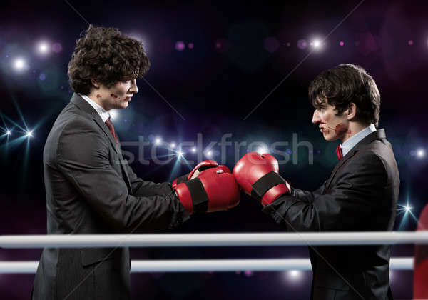 Affaires concurrents deux affaires gants de boxe anneau Photo stock © adam121