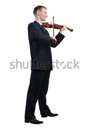 ビジネスマン 演奏 バイオリン 小さな 孤立した 白 ストックフォト © adam121