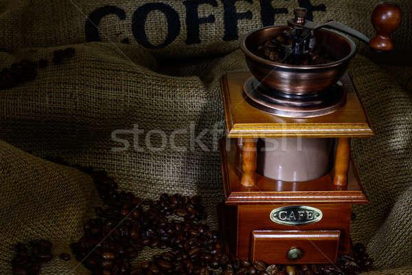 Kawy młyn fasola konopie martwa natura drewna Zdjęcia stock © adam121