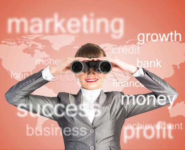 business woman looking through binoculars Stock photo © adam121
