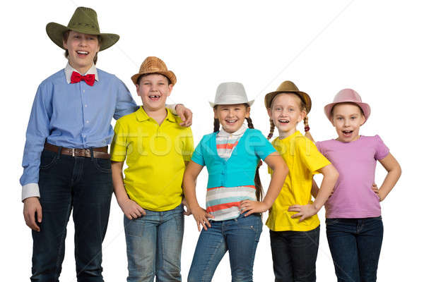 children in a row, wearing a hat Stock photo © adam121
