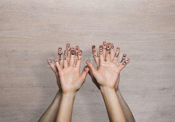 Boldog együtt kezek férfi nő szeretet Stock fotó © adam121