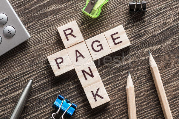Conceptual media keywords on table with elements of game making crossword Stock photo © adam121