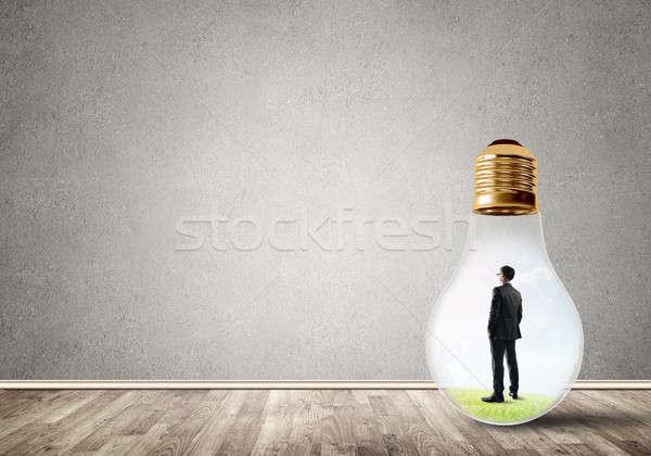 бизнесмен ловушке лампа внутри пусто Сток-фото © adam121