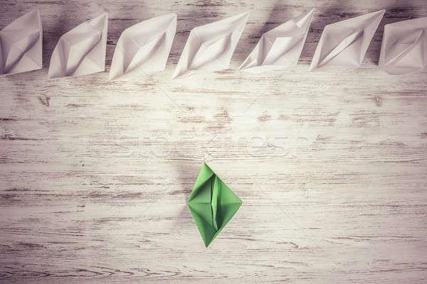 бизнеса руководство набор оригами лодках деревянный стол Сток-фото © adam121