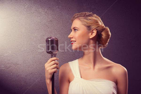 Привлекательная женщина певицы микрофона Гранж стиль моде Сток-фото © adam121