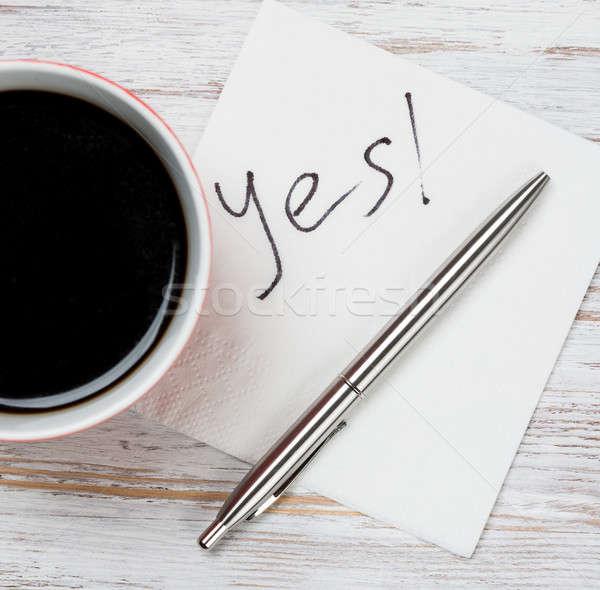 üzenet írott szalvéta csésze kávé üzlet Stock fotó © adam121