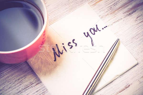 романтические сообщение написанный салфетку Кубок кофе Сток-фото © adam121