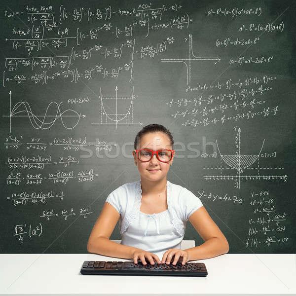 Wenig Schule Genie Mädchen Alter rot Stock foto © adam121