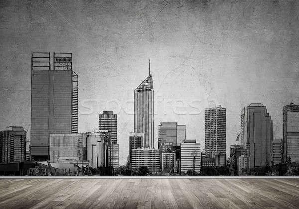 Ciudad diseno pared silueta moderna paisaje Foto stock © adam121