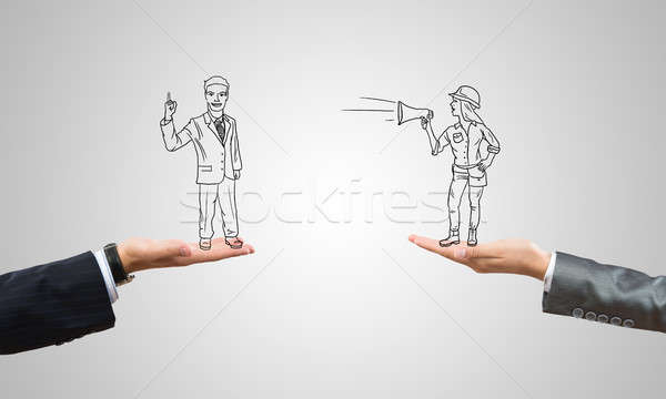 Caricatures of businessman and businesswoman Stock photo © adam121