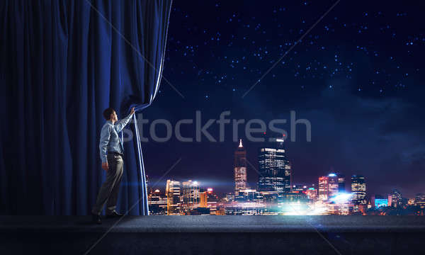 Night city behind curtain Stock photo © adam121