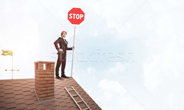 Kaukasisch zakenman baksteen huis dak tonen Stockfoto © adam121