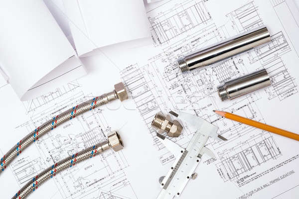 plumbing and drawings, construction still life Stock photo © adam121