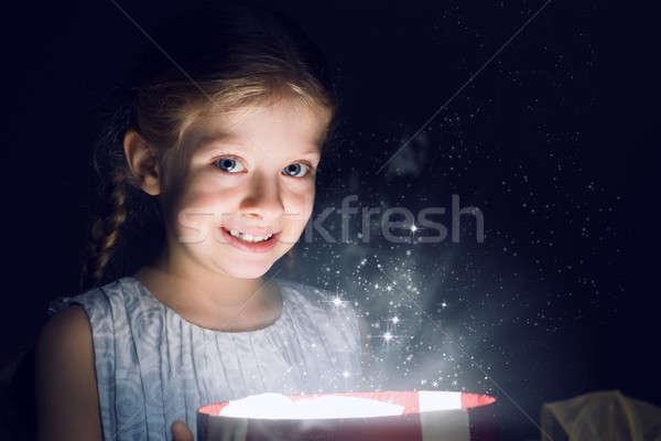 Christmas dziewczyna polu magic świetle cud Zdjęcia stock © adam121