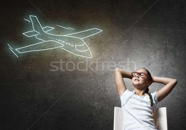Kicsi stréber iskolás lány kezek fej ül Stock fotó © adam121