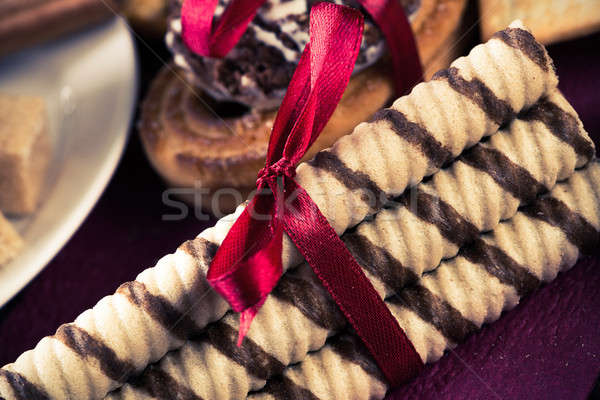 Stok fotoğraf: şekerleme · kahve · molası · kurabiye · bisküvi · kutlama · ahşap · masa
