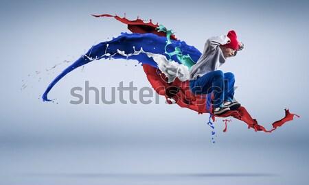 Stockfoto: Ballerina · rode · jurk · hartstochtelijk · vrouw · danser · zwarte