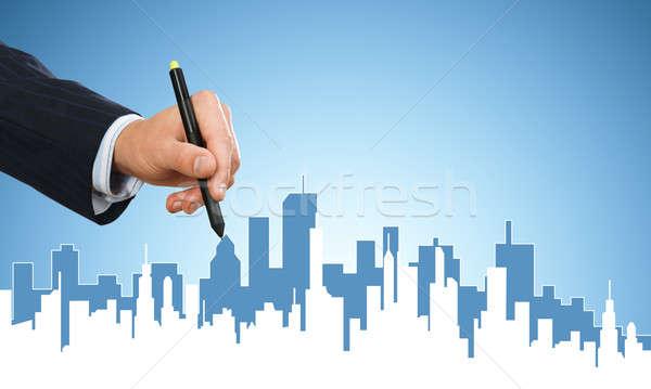 Zdjęcia stock: Inżynierii · projektant · pracy · strony · człowiek · rysunek