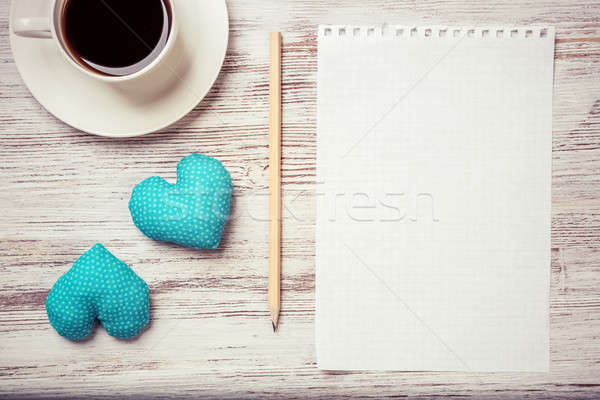Confessione san valentino tazza di caffè notepad matita due Foto d'archivio © adam121