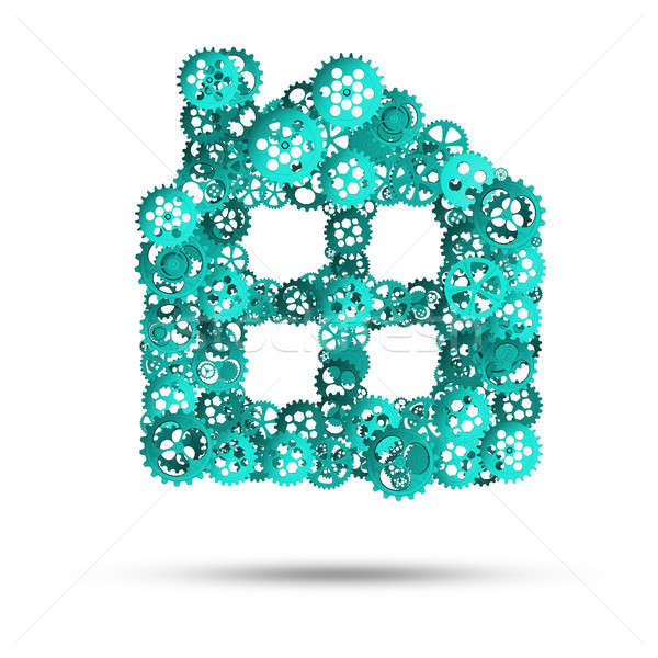 Ingatlan építkezés ötlet otthon ikon fehér háttér Stock fotó © adam121