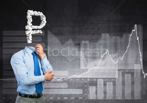 Sempre pensando dinheiro empresário assinar homem Foto stock © adam121
