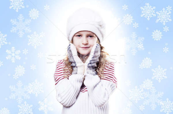 Winter Girl snow flake blue background Stock photo © adam121