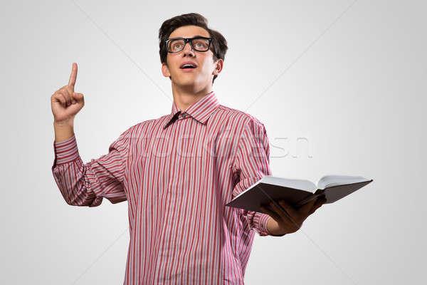 Man wijsvinger papier student Stockfoto © adam121