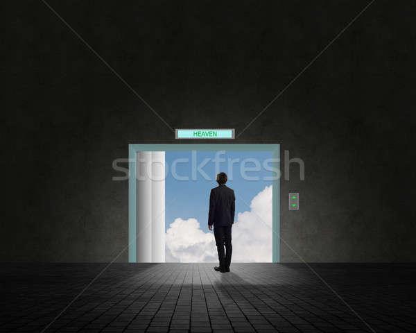 деловой человек Постоянный открытых дверей двери небе облака Сток-фото © adam121