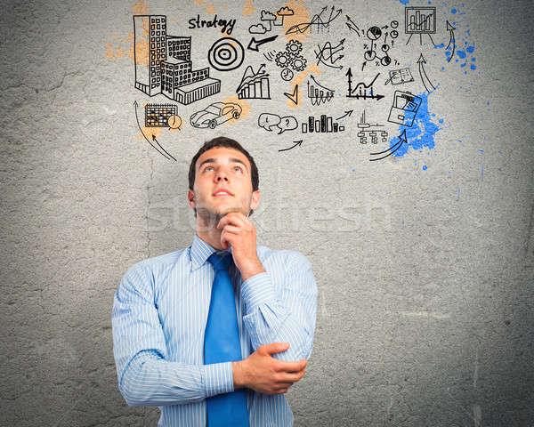 мышления деловой человек эскиз мозг цвета маркетинга Сток-фото © adam121