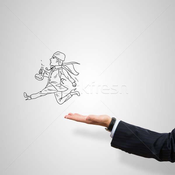 Nő orvos rajzolt férfi pálma szürke Stock fotó © adam121