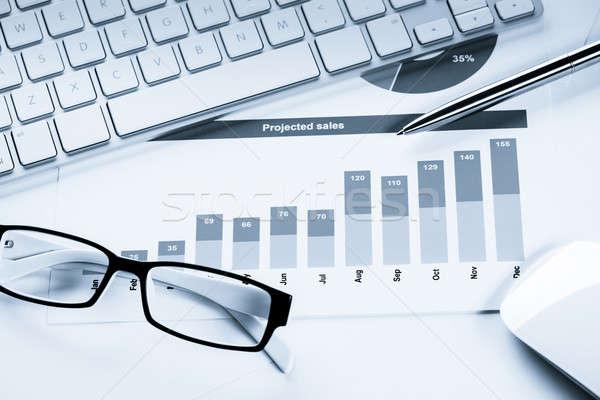 Promedio ventas informe negocios lugar de trabajo teclado Foto stock © adam121