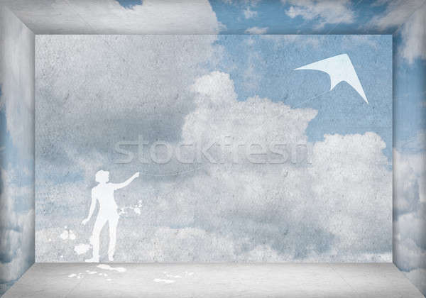 Nina vuelo cometa silueta adolescente jugando Foto stock © adam121
