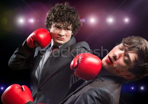 Negócio concorrentes dois empresário luvas de boxe anel Foto stock © adam121