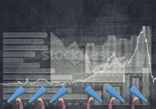 Stockfoto: Vrouwelijke · handen · rij · Blauw · papier