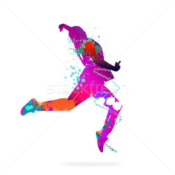 抽象 舞蹈家 圖像 顏色 側影 白 商業照片 © adam121