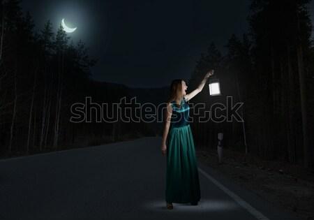 Girl lost in night Stock photo © adam121