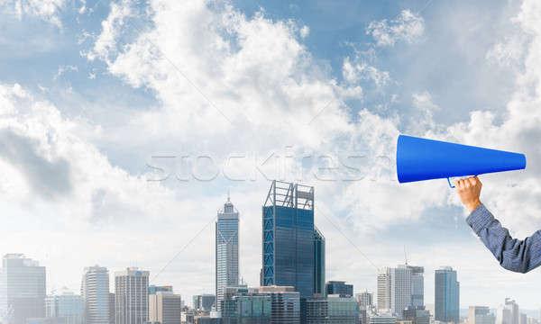 手 女性 青 紙 トランペット ストックフォト © adam121