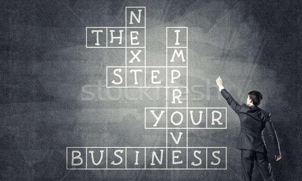 Stockfoto: Seminar · trekken · schoolbord · zakenman · permanente