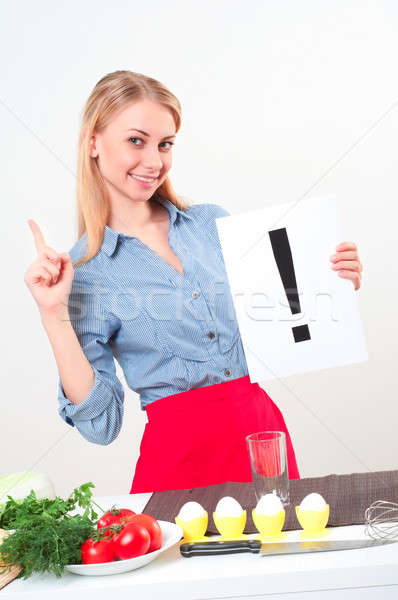Portré fiatal nő tart felkiáltójel nő tart Stock fotó © adam121